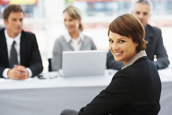 Woman giving a cute smile during job interview